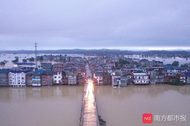 江西省防汛工作进入战时状态,鄱阳县漫堤决口,村庄受淹汪洋一片